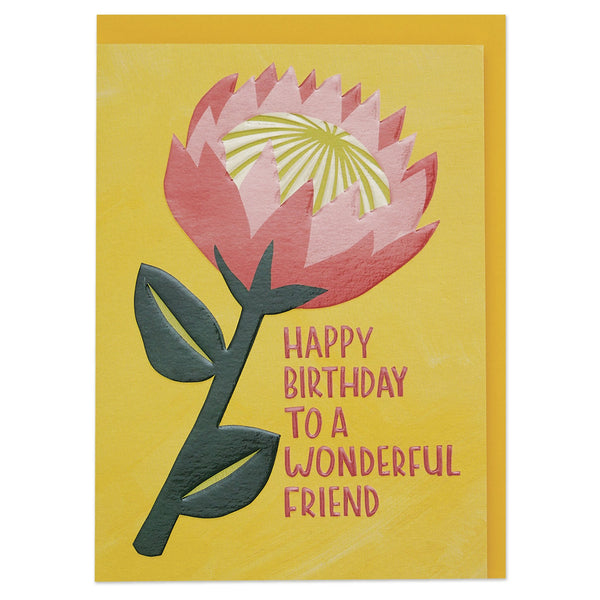 'Happy Birthday wishes to a wonderful friend' graphic King Protea Birthday card