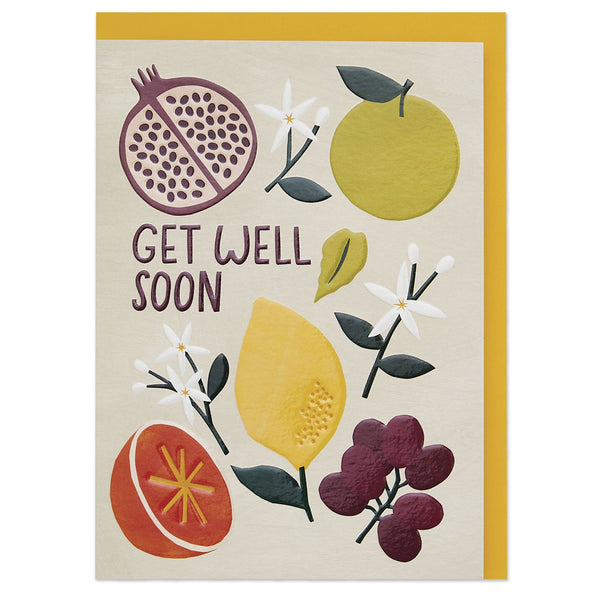 'Get well soon' fruit and botanicals contemporary card