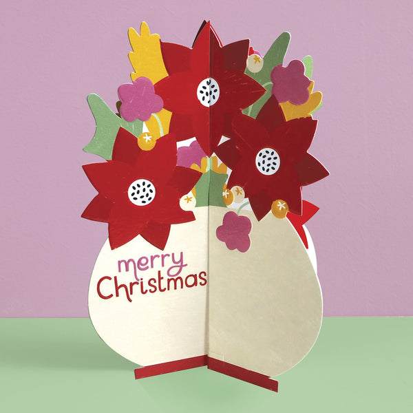 'Merry Christmas' Poinsettia 3D fold-out Christmas card