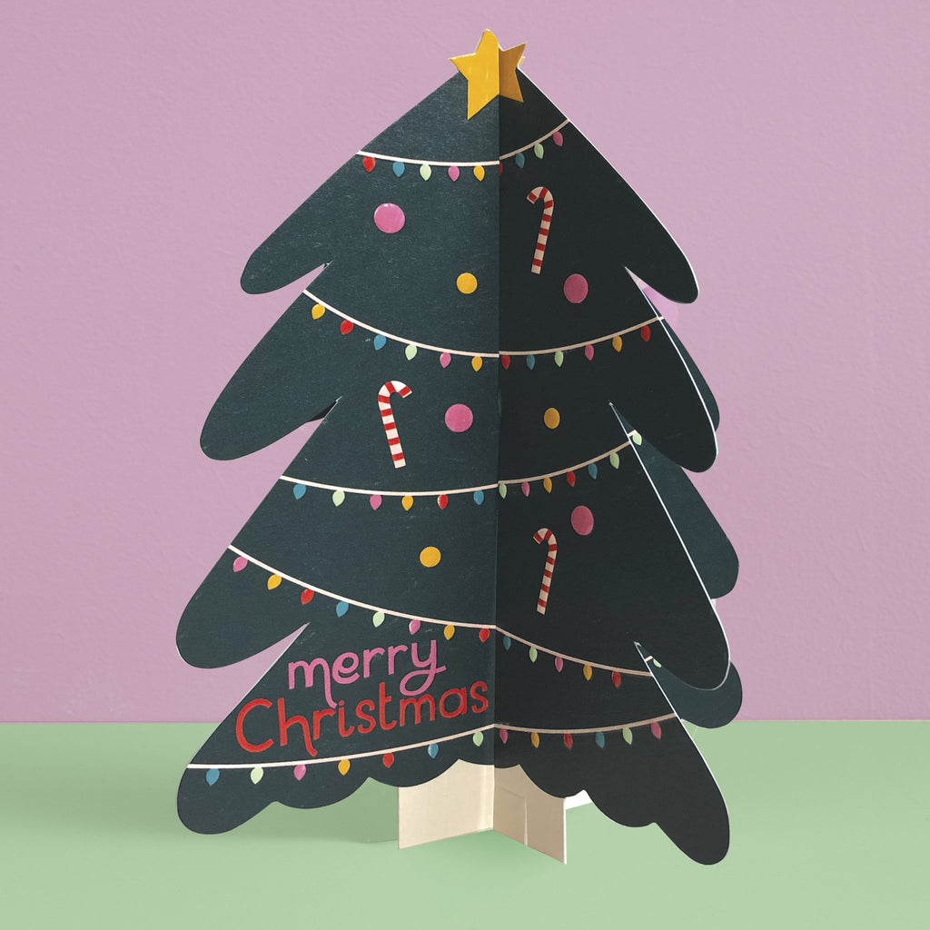 'Merry Christmas' Christmas Tree 3D fold-out Christmas card