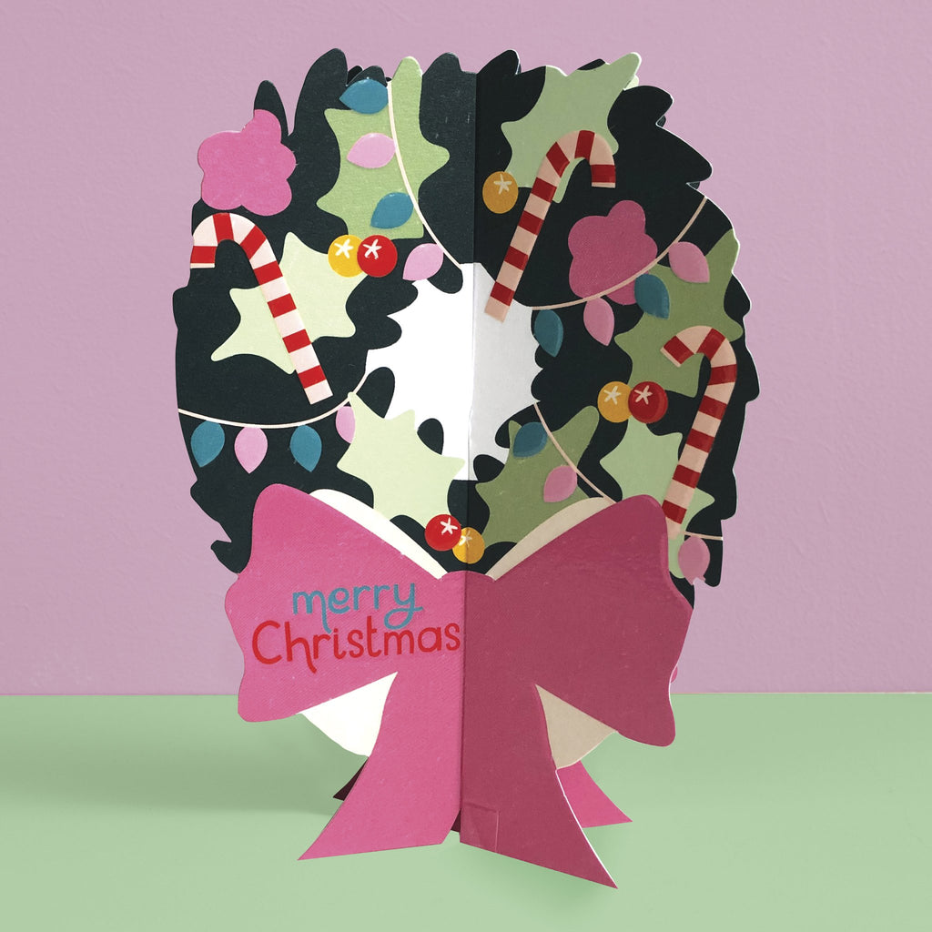 'Merry Christmas' Wreath 3D fold-out Christmas card