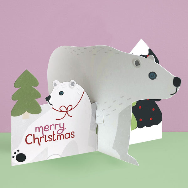 'Merry Christmas' Polar Bear 3D fold-out Christmas card