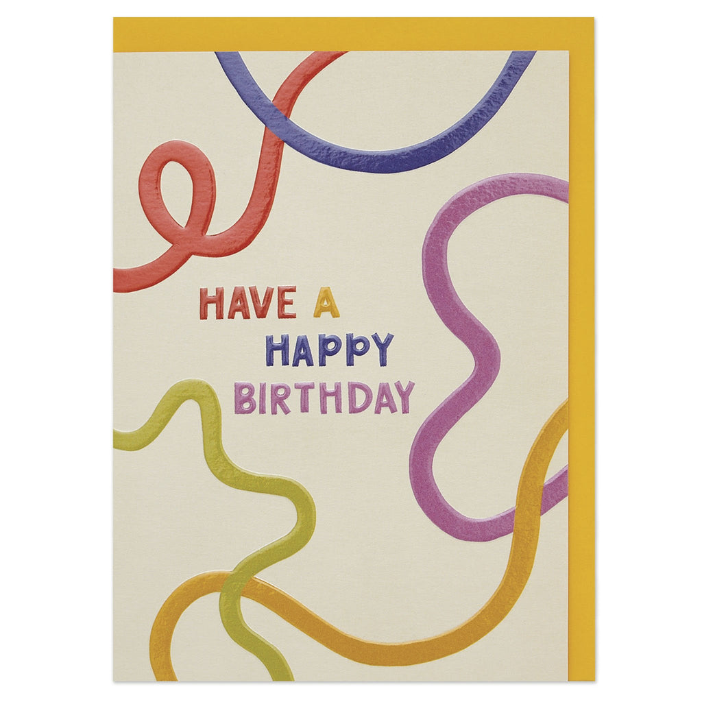 'Have a happy Birthday' colourful graphic Birthday card