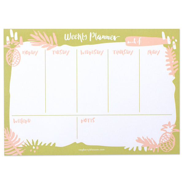 Blossoming Blooms weekly planner - green