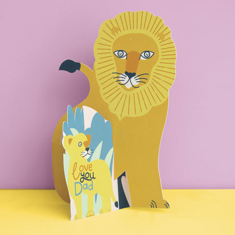 Cute 3D fold-out 'Love You Dad' Lion and Cub Card