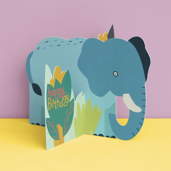 3D fold-out Elephant Birthday Card
