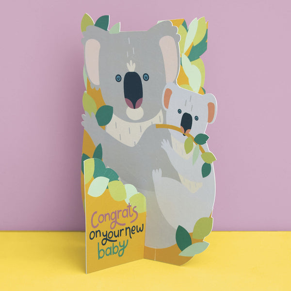 3D fold-out Koala and Joey New Baby Card