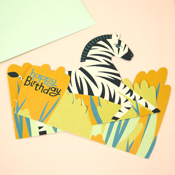 3D fold-out Zebra Birthday Card