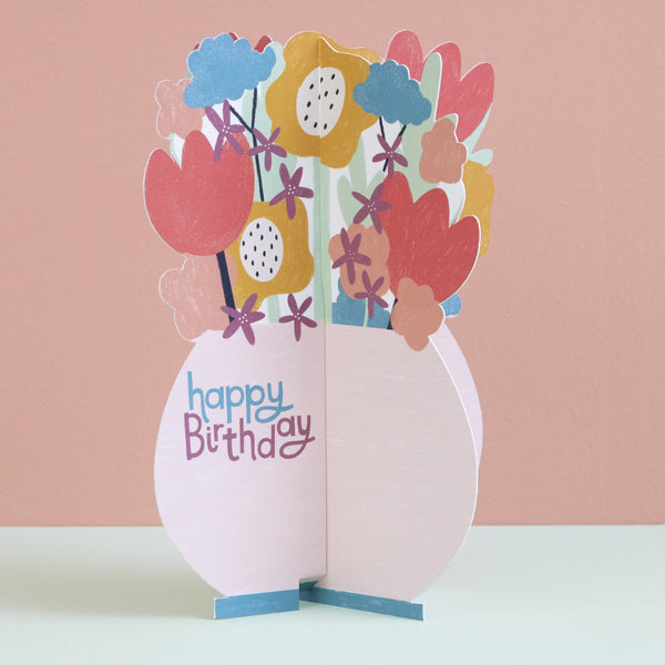 Happy Birthday Card - Vase of Flowers
