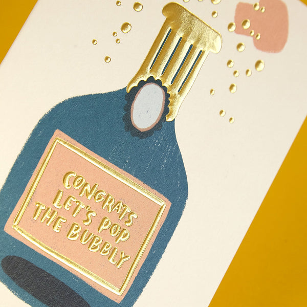 'Congrats Let's pop the bubbly' celebration card