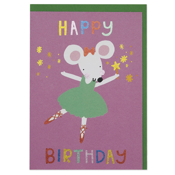 Dazzling ballerina mouse children's Birthday card