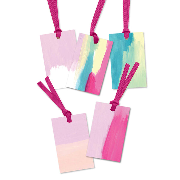 5 x light abstract painterly gift tags