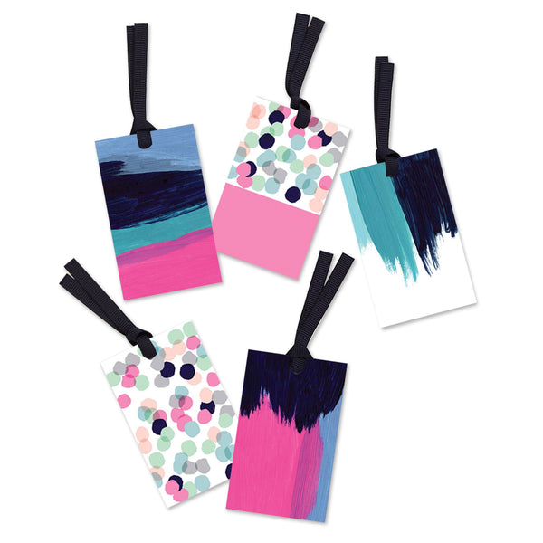 5 x abstract painterly gift tags