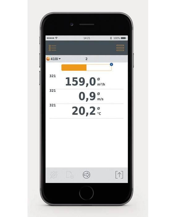 Testo 410 i - vane anemometer with smartphone operation