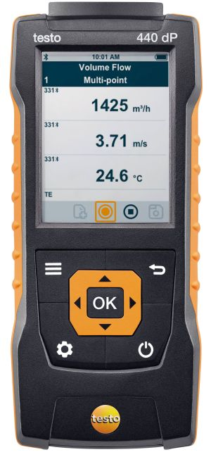 Testo 440 dP - Air velocity and IAQ measuring instrument including diff pressure sensor
