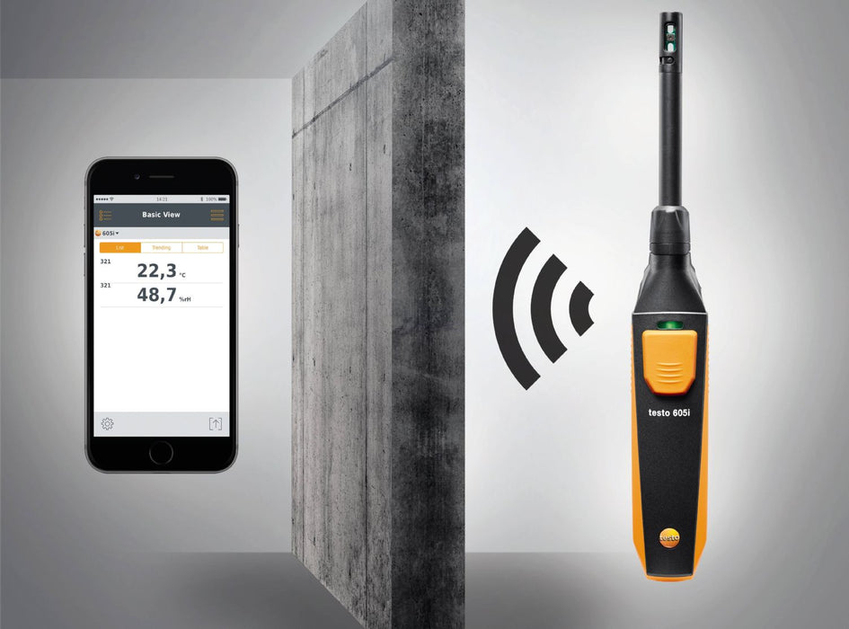 Testo 605i - Thermohygrometer operated via smartphone