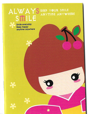 Always Smile Kimono Kokeshi Doll Mini Memo Notebook Stationery - Sweetie Kawaii