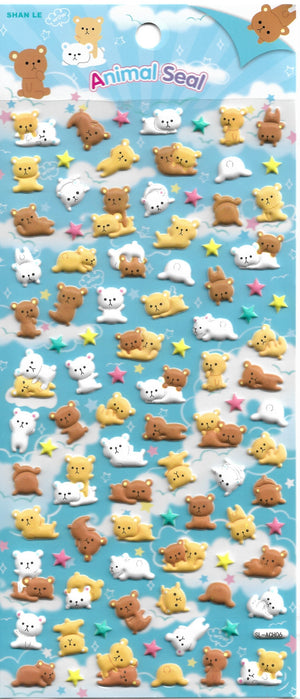Animal Seal Teddy Bear & Friends Puffy Sticker Sheet Stickers - Sweetie Kawaii