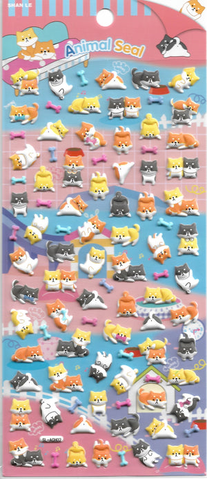 Animal Seal Shiba Inu & Friends Puffy Sticker Sheet Stickers - Sweetie Kawaii