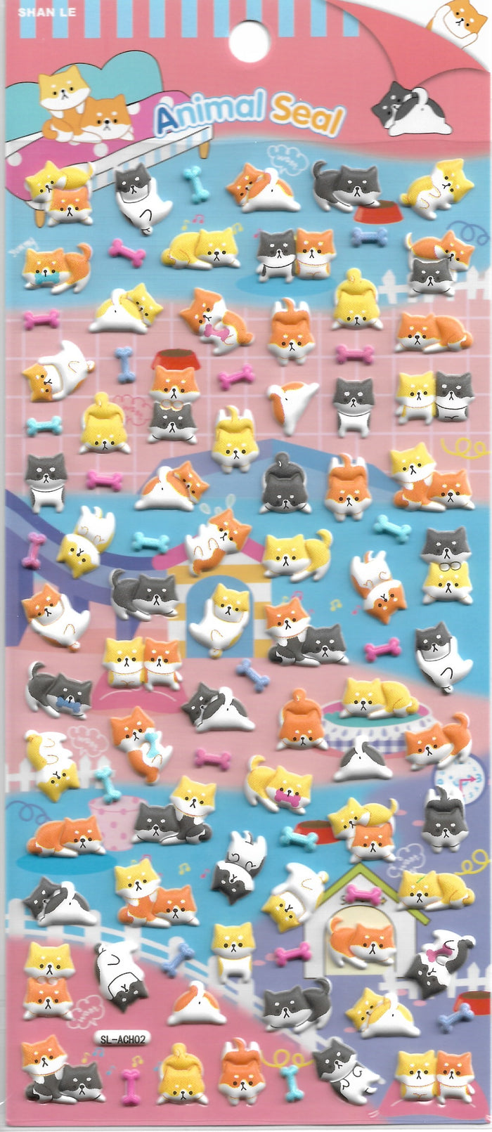 Animal Seal Shiba Inu & Friends Puffy Sticker Sheet