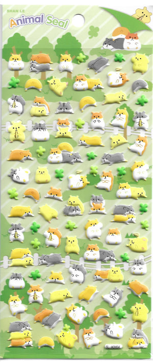 Animal Seal Hamsters & Friends Puffy Sticker Sheet Stickers - Sweetie Kawaii