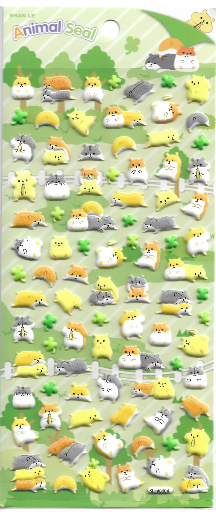 Animal Seal Hamsters & Friends Puffy Sticker Sheet