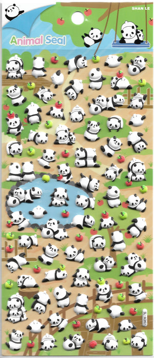 Animal Seal Panda & Friends Puffy Sticker Sheet Stickers - Sweetie Kawaii