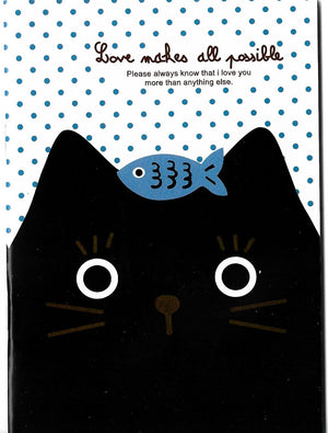 Curious Little Black Kitty Cat with Fishy Treat Mini Memo Notebook Stationery - Sweetie Kawaii