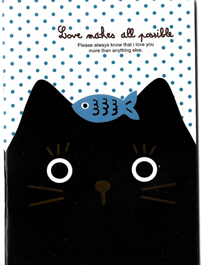 Curious Little Black Kitty Cat with Fishy Treat Mini Memo Notebook