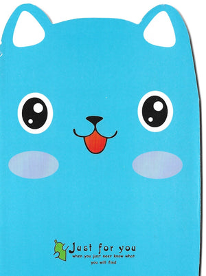 Blue Cat with Leaf Mini Memo Notebook Stationery - Sweetie Kawaii
