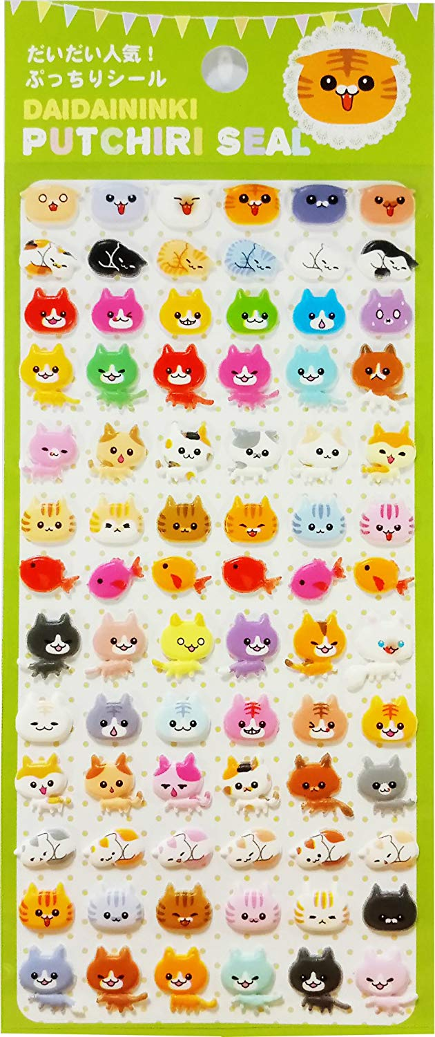 Daidaininki Putchiri Seal Puffy Cat Stickers