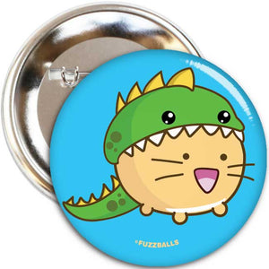 Fuzzballs Dinocat Badge Badges & Pins - Sweetie Kawaii
