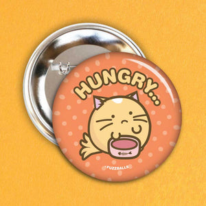 Fuzzballs Hungry Cat Badge Badges & Pins - Sweetie Kawaii