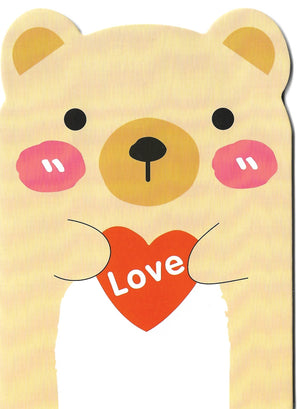 Happy Blushing Bear with Love Heart Mini Memo Notebook Stationery - Sweetie Kawaii