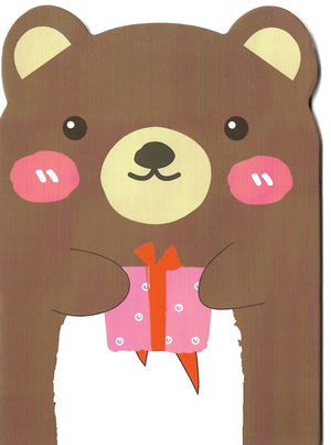 Happy Blushing Bear with Present Mini Memo Notebook
