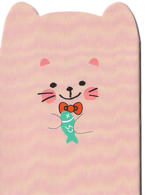 Happy Blushing Cat with Fish Mini Memo Notebook Stationery - Sweetie Kawaii