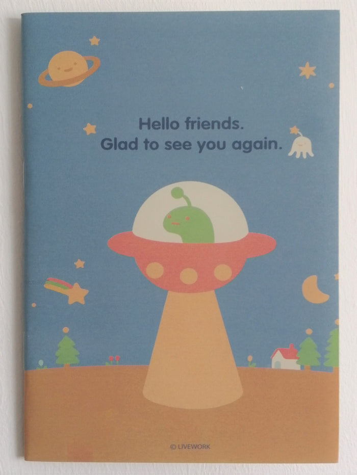 Kawaii Friendly Alien UFO Mini Memo Notebook
