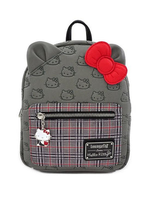 Hello Kitty Print Grey Loungefly Sanrio Mini Backpack Bags & Wallets - Sweetie Kawaii