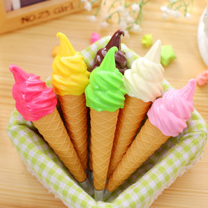 Ice Cream Cone Pen - Strawberry, Vanilla, Chocolate, Raspberry, Matcha or Mango Stationery - Sweetie Kawaii