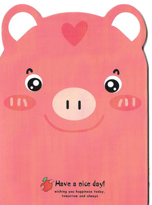 Pink Piggy with Apple Mini Memo Notebook Stationery - Sweetie Kawaii