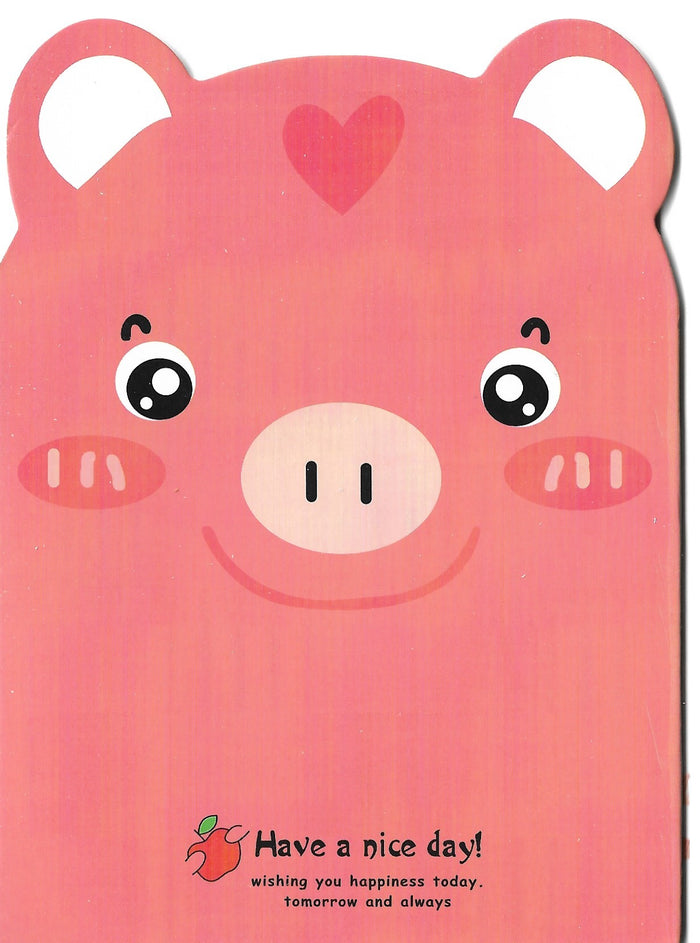 Pink Piggy with Apple Mini Memo Notebook