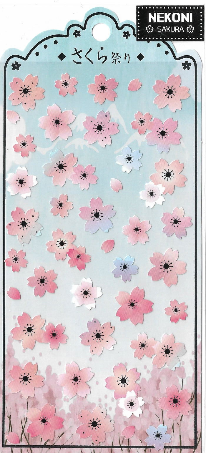 Nekoni Sakura Cherry Blossom Flower Stickers