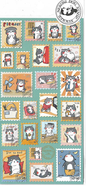 Nekoni Black Shiba Inu Stamp Style Sticker Sheet Stickers - Sweetie Kawaii