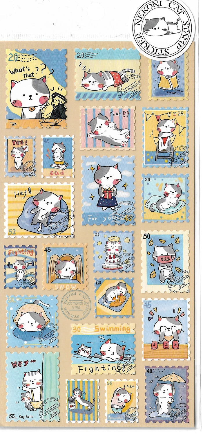 Nekoni Black & White Kitty Cat Stamp Style Sticker Sheet
