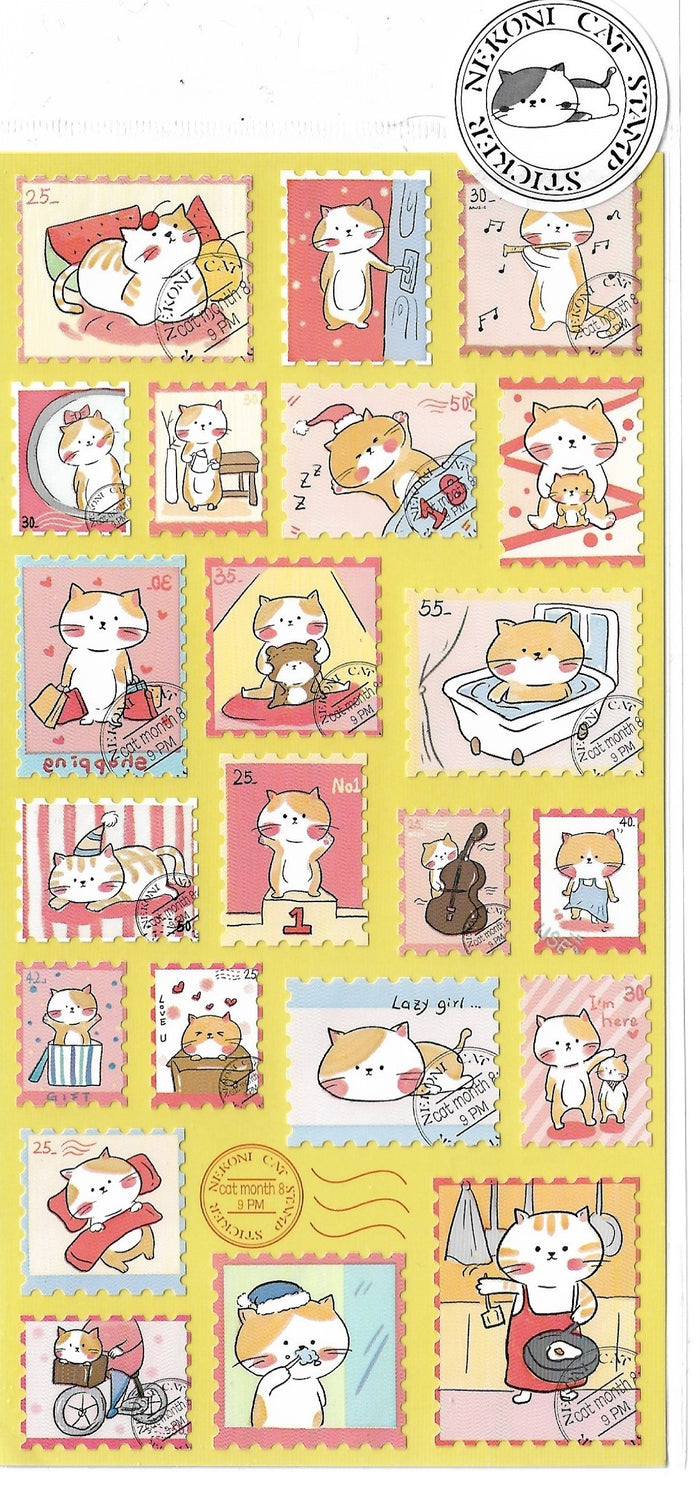 Nekoni Orange & White Kitty Cat Stamp Style Sticker Sheet