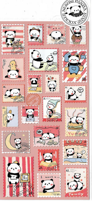 Nekoni Panda Bear Pink Stamp Style Sticker Sheet Stickers - Sweetie Kawaii