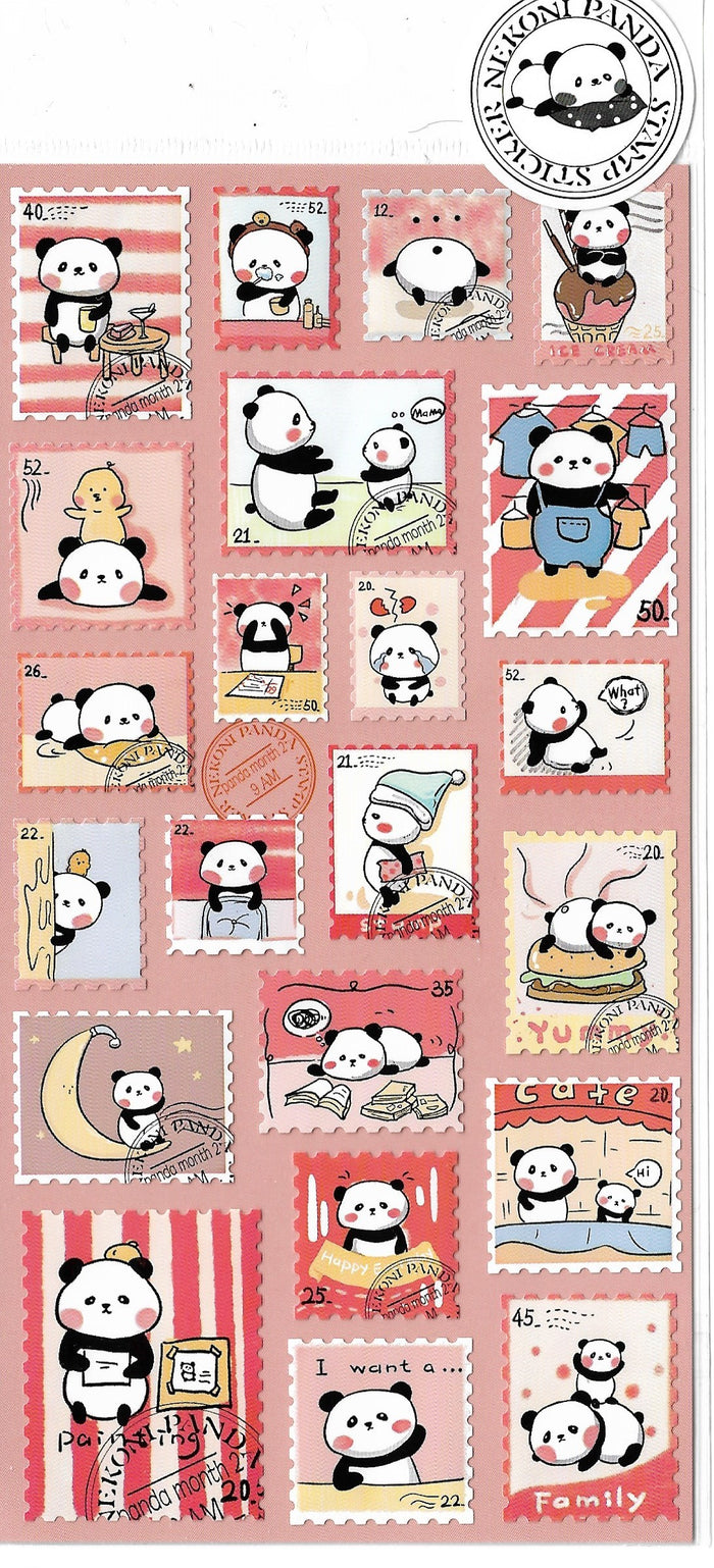 Nekoni Panda Bear Pink Stamp Style Sticker Sheet