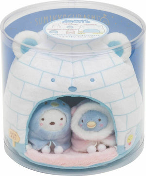 San-X Sumikko Gurashi Shirokuma Friends Sumikko House Igloo Plush Set