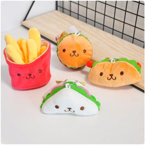 Kawaii Supermarket Conbini Sandwich Cheeseburger Taco Fries Plush Keychain Plush - Sweetie Kawaii