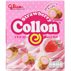 Glico Collon Strawberry Cream Biscuit Rolls Japanese Candy & Snacks - Sweetie Kawaii